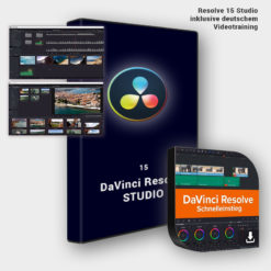 Box von DaVinci Resolve 15 Studio mit deutschem Kurs