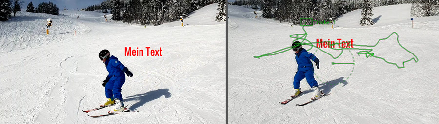 Skifahrer Hinweis auf Webinar